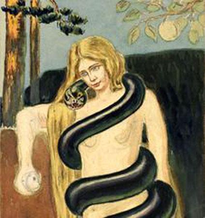 Wamen desnudo con serpientes
