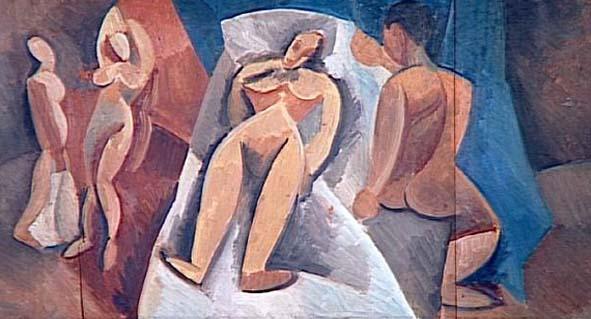Picasso. Desnudo recostado con personajes