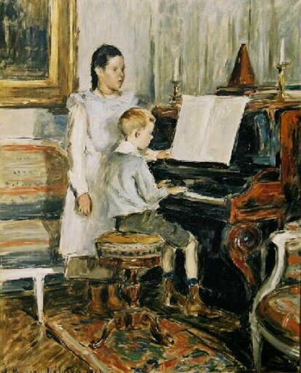 etienne moreau nelaton-niños en el piano