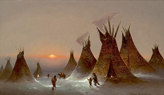 jules tavernier-campamento indio en invierno