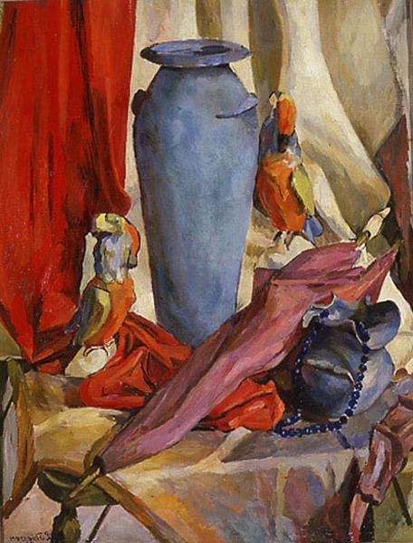 leonard thiessen-naturaleza muerta con jarrón azul