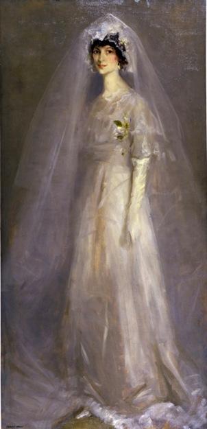 rebert henri-retrato de eulabee en su vestido de novia