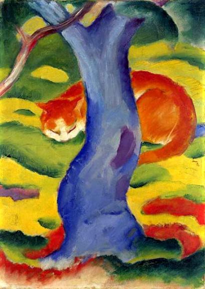 franz marc-un gato detrás del árbol