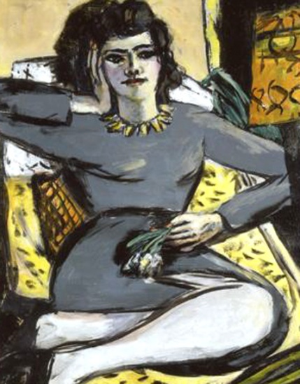 max beckmann-mujer reclinada con clavos