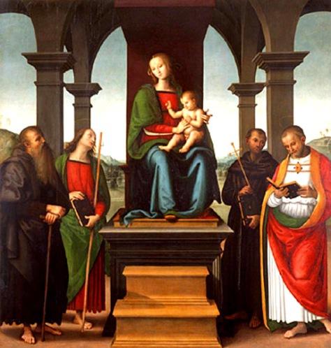 perugino-viirgen con el niño y los santos