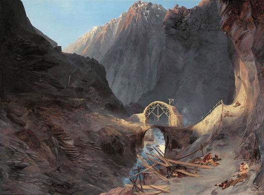 carl blechen-construyendo el puente del diablo