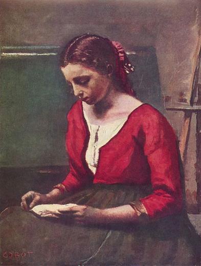 jean babtiste corot-una muchacha con jersey rojo leyendo