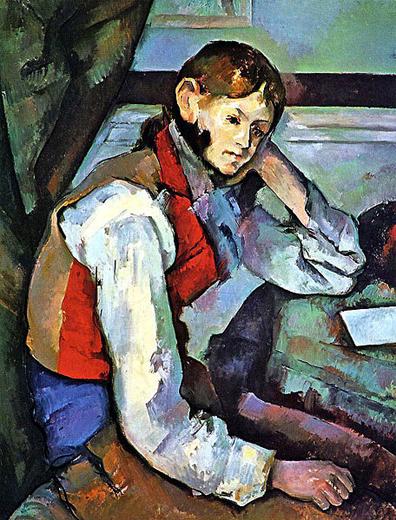 paul cézanne-un muchacho con chaleco rojo