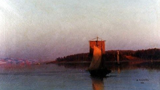 arseny meschersky-velero en el atardecer