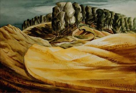 carl schaefer-campo de trigo y arboleda