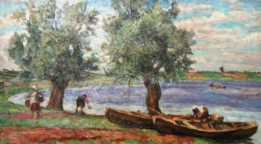 pyotr konchalovsky-hombres en el lago