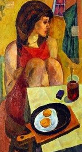 valery vatenin-retrato con huevos fritos