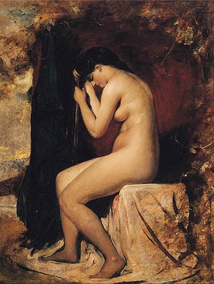 william etty-mujer desnuda sentada