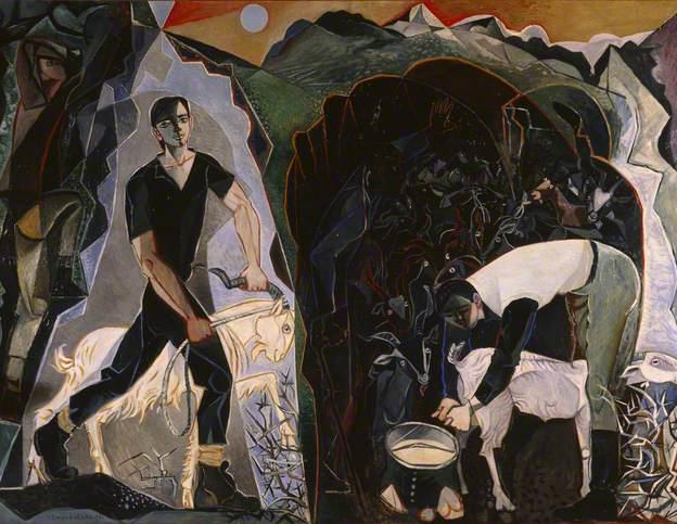 john craxton-cuatro figuras en un paisaje de montaña