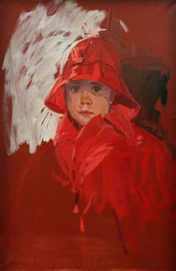 donald sinclair swan-john con su capa de lluvia roja