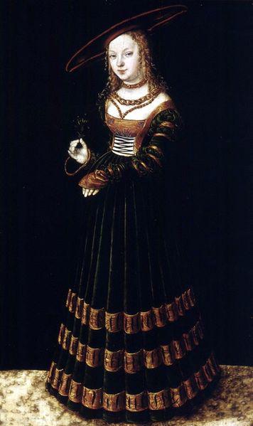 lucas cranach el viejo-una chia con un ramo de nomeolvides