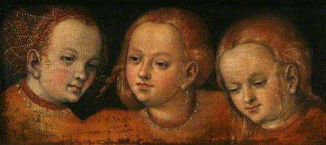 lucas cranach el viejo-estudio pasra tres cabezas de chicas