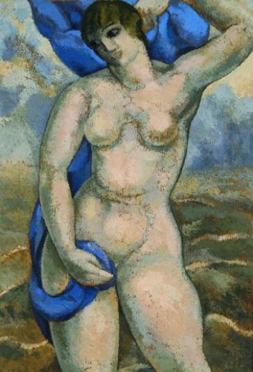 alfredo gutero-desnudo femenino con drapeado azul