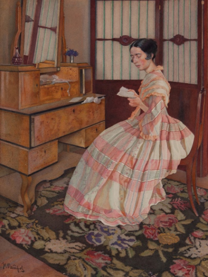 nikolai filippovich petrov-señora en un secreter