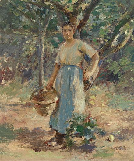 theodore robinson-muchacha campesina bajo un árbol