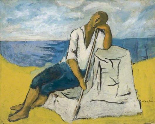 john craxton-pastor sentado en una roca
