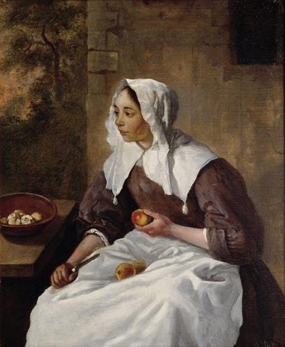 gabriel metsu-mujer pelando manzanas