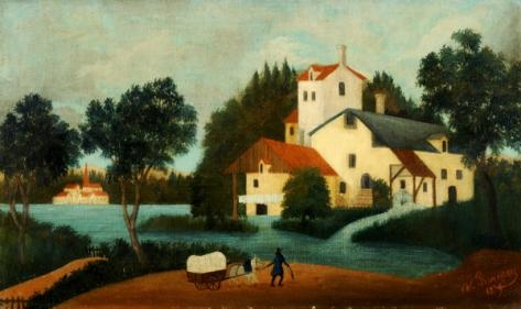 henri rousseau-paisaje con molino de agua