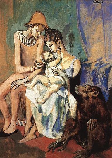 pablo picasso-la familia del acróbata con un mono
