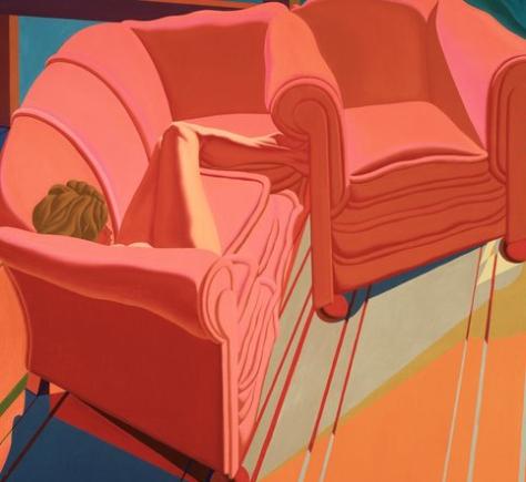 jack beal-desnudo en un diván con un sillón rojo