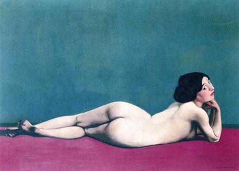 félix valloton-desnudo sobre una alfombra roja